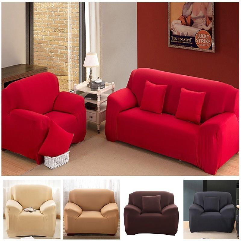 1/2/3/4 Seater Solid Sofa Cover Spandex Modern Elastic Polyester ...