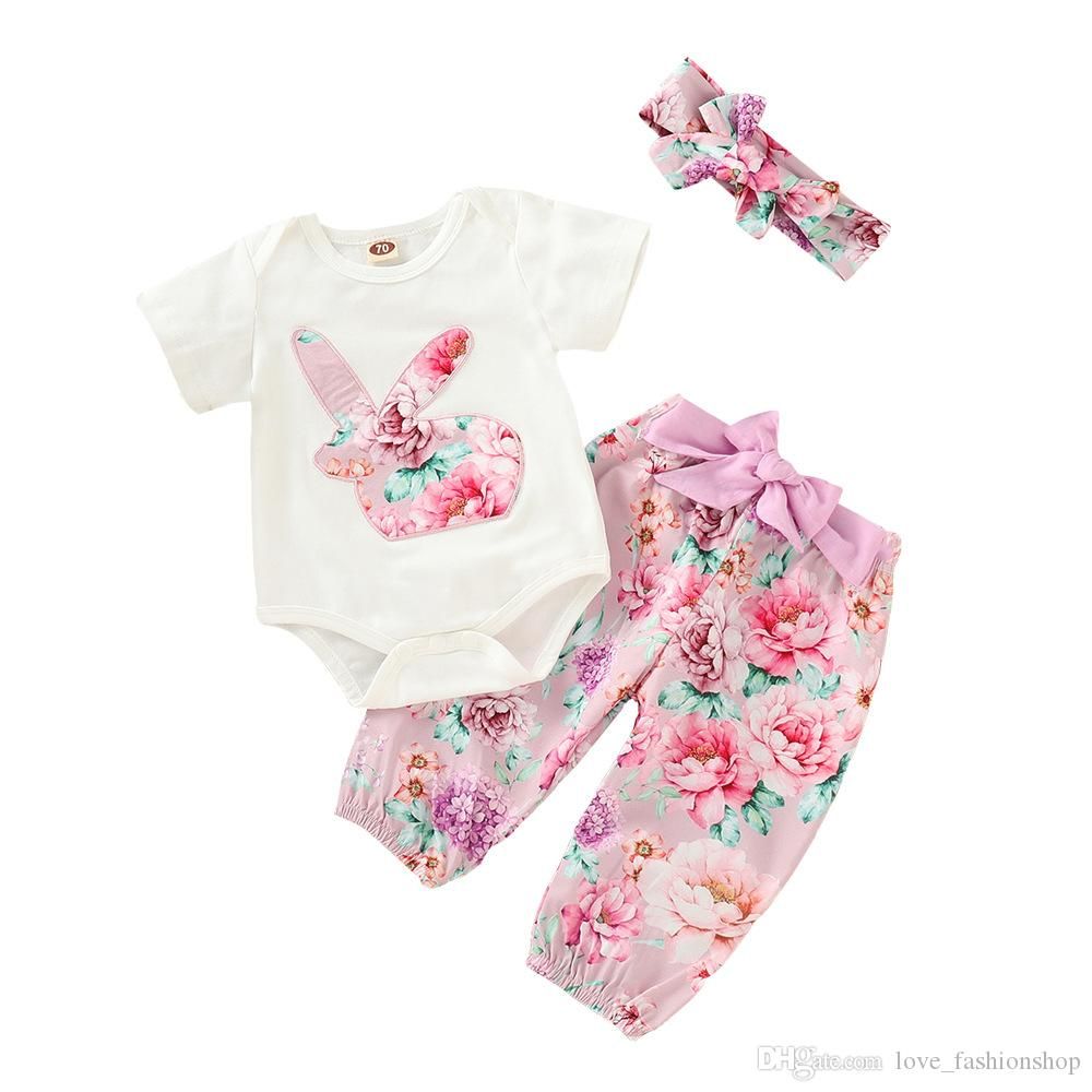 c8529610d 2019 2019 Baby Girls Rabbit Applique Rompers Sets Ins Infant Toddle ...
