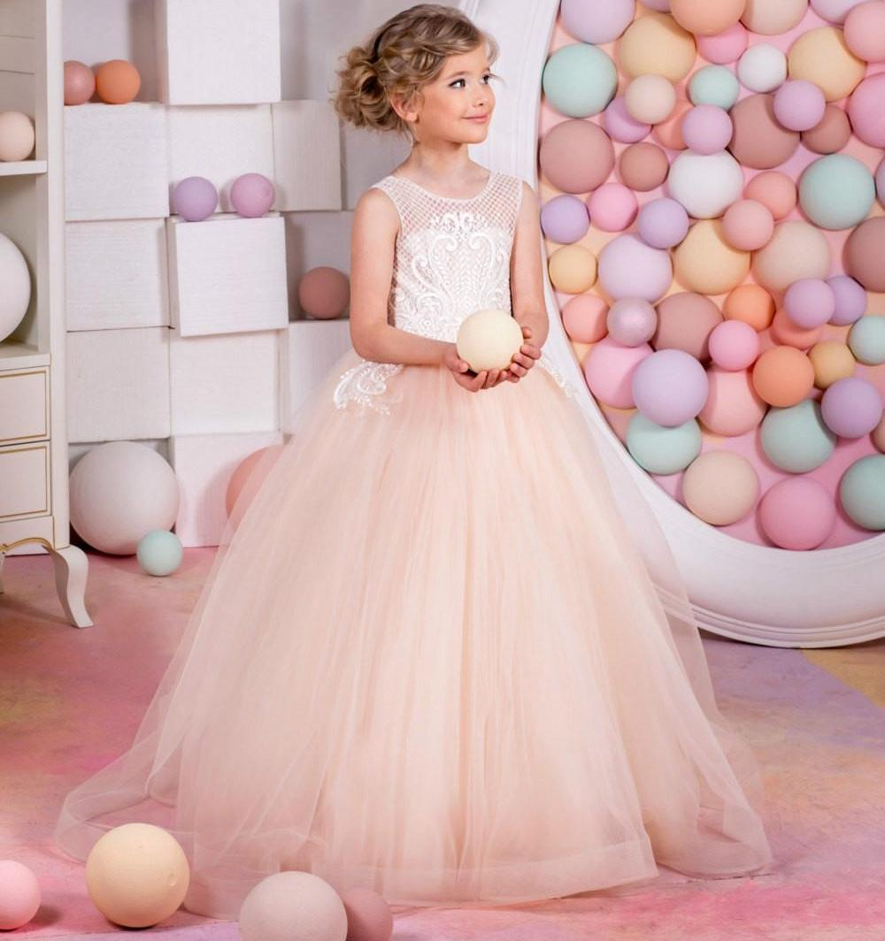 b82ee3a74df6 Blush Pink Flower Girl Dresses Holiday Bridesmaid Wedding Party Birthday  Little Girl Cute Tulle Lace Flower Girl Dress Formal Occasion 203 Beach  Wedding ...