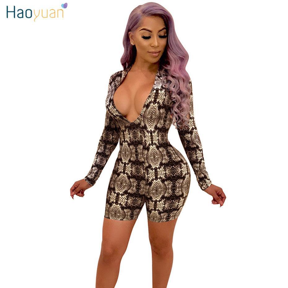 Snake Print Long Sleeve V-neck Bodycon Bodysuit 2019 Summer Women Fashion Sexy Snakeskin Bodysuit Slim Female Jumpsuits Overalls Bodysuits