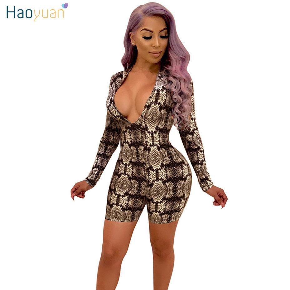 ff566b7caa2a8 Haoyuan Women Snake Print Bodysuit Sexy Deep-v Rompers Shorts Jumpsuit Long  Sleeve Casual Overalls Snakeskin Bodycon Playsuit C19042301
