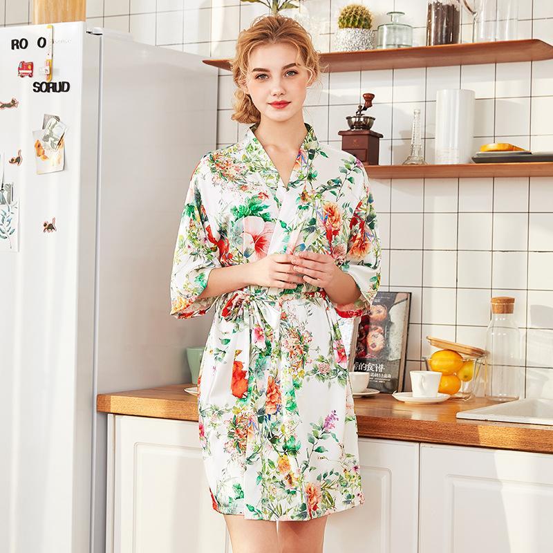 75ce068930 Sexy Summer Women's Sleep Robe Nightgown Yukata 2019 Lady Rayon Short  Kimono Bath Gown Sleepwear Bathrobe Pijama Mujer M-XXL