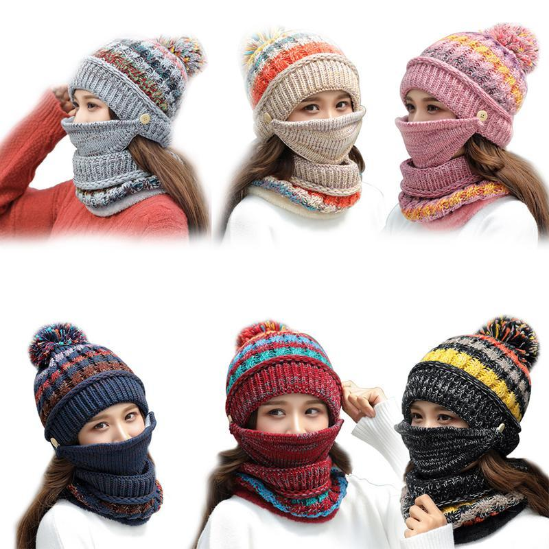 67dfb33e5db4b 2019 Fleece Lined Women Knit Beanie Scarf Set Girls Winter Ski Hat With  Earflaps From Cutport