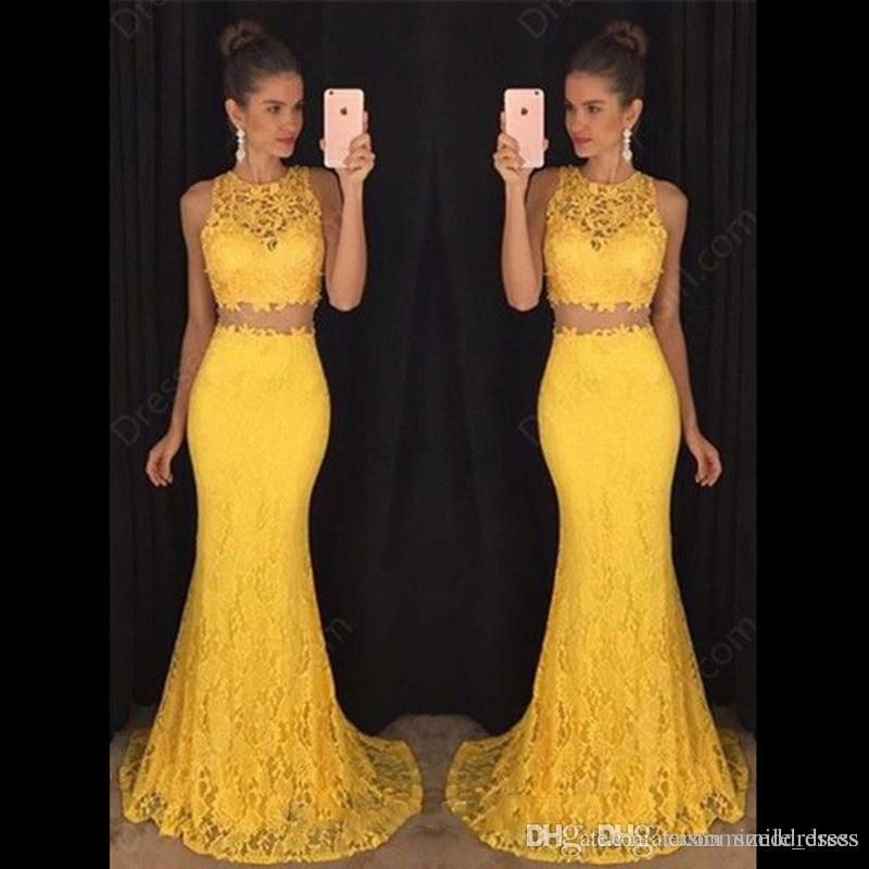 cfe40fbe637 Yellow Lace Two Piece Prom Dresses 2017 Mermaid Jewel Floor Length Formal  Evening Dresses Women Party Gowns SP275 Western Prom Dresses Xscape Prom  Dresses ...