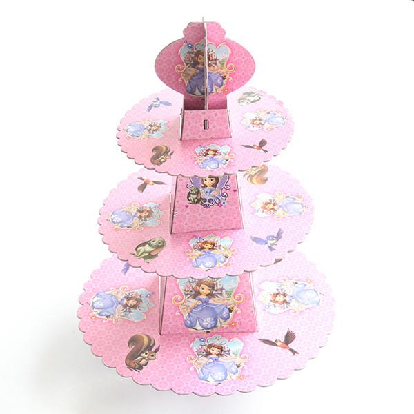 Princess Theme 3 Tier Round Paper Cake Rack Baby Birthday Party Decorations Supplies Cardboard Cupcake Stand Hold