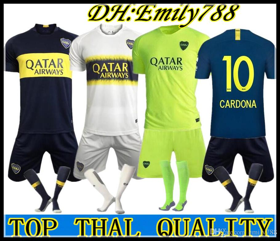 d063c94292381 2019 2018 19 Boca Juniors Home Soccer Uniforms Men'S Short Sleeve 18 19 Boca  Juniors Soccer Jersey Shorts + Socks Boc Football 3RD Soccer Jerseys From  ...
