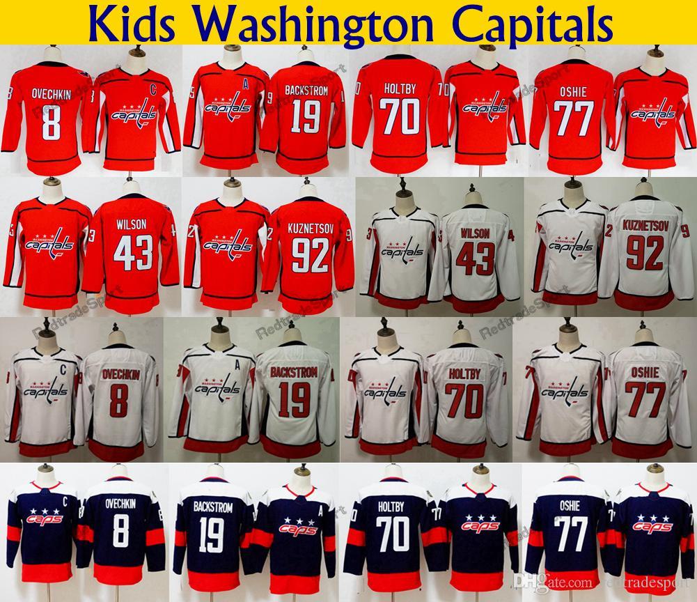 2018 Stadium Series Kids Washington Capitals 77 TJ Oshie 8 Alex Ovechkin 70  Holtby 92 Kuznetsov 19 Backstrom 43 Wilson Youth Hockey Jerseys Youth Alex  ... 821de7148