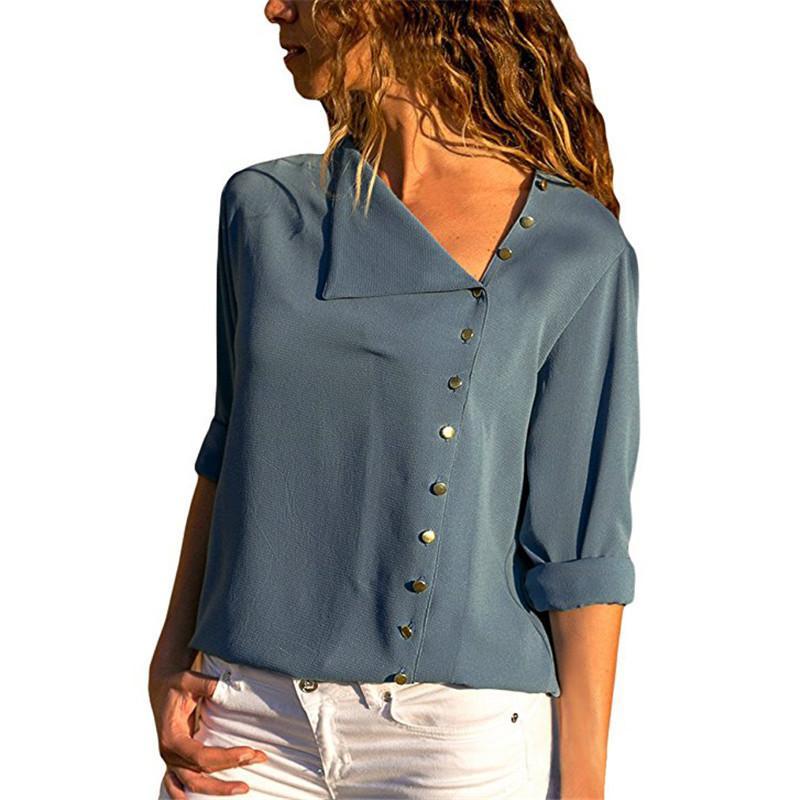Blouse Of Overhemd.Vrouwen Tops En Blouses Solid Lange Mouwen Knop Skew Kraag