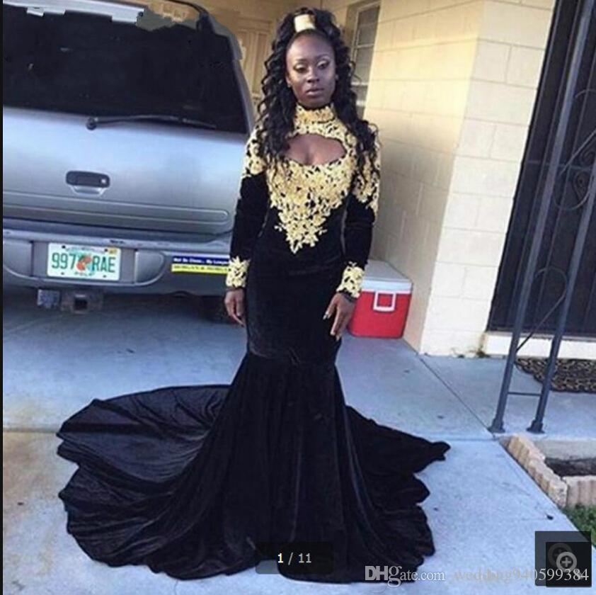1d4fbaa68 2019 Vestido De Festa recién llegado de terciopelo negro sirena vestido de  fiesta musulmán manga larga cuello alto apliques de encaje formal ...