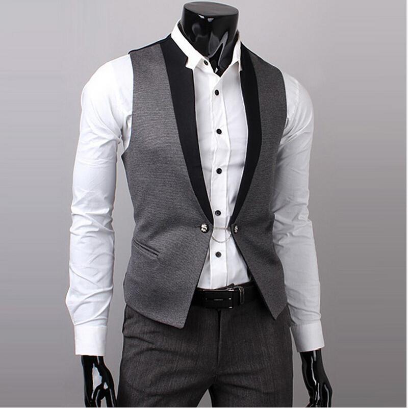 c8b6c3339d1 Hot Men Suit Vest Slim Dress Vests Men s Fitted Leisure Waistcoat ...