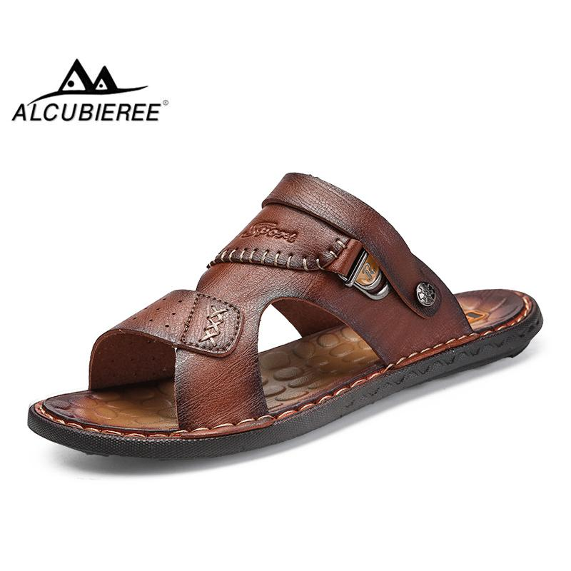 cd56b9ba8 Compre ALCUBIEREE Sandalias Para Hombre Zapatos De Playa De Cuero Sandalias Hombres  De La Marca Zapatos Casuales Zapatillas De Deporte De Cuero Dividido ...