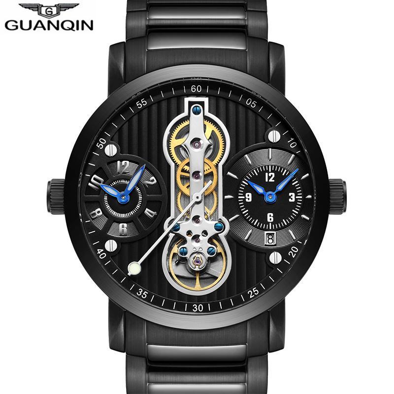 e5e1621494a Compre Guanqin Novo 2018 Relógios Mecânicos Para Os Homens À Prova D  Água  Turbilhão Esqueleto Automático Relógio Dos Homens De Luxo Relogio Masculino  ...