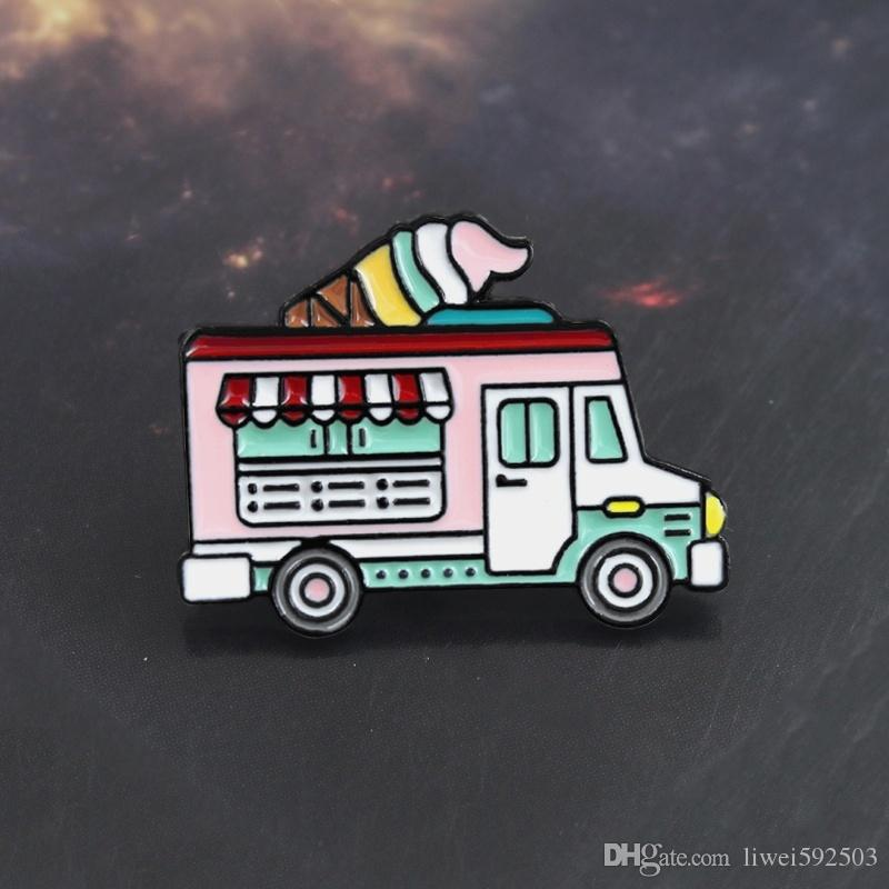 Ice cream truck pink color enamel pin Sweet ice candy cream car brooch sweater Denim lapel badge Romantic couple gift