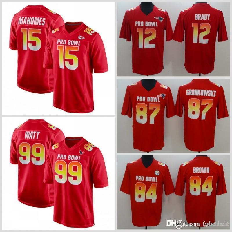innovative design ec81a aa3a0 2019 Pro Bowl AFC Mens 15 Patrick Mahomes 12 Tom Brady 99 J.J. Watt 20  Jalen Ramsey 84 Antonio Brown 87 Rob Gronkowski Red Jersey