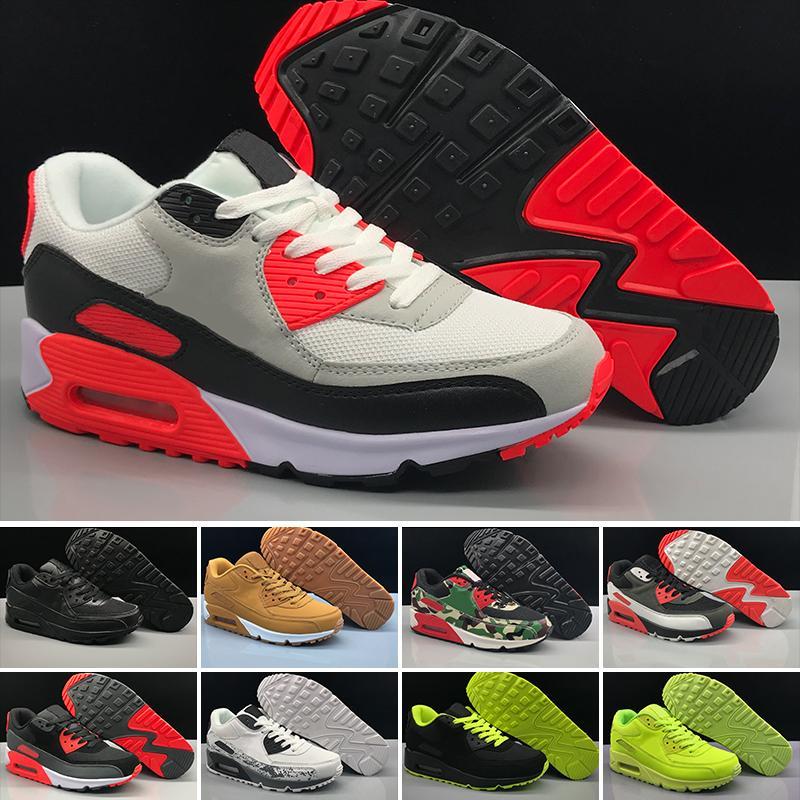 photos officielles 7a1ff 91376 Nike Air Max 90 2019T 2018 Baskets Pas Cher Classique 90 Hommes Chaussures  De Course En Gros Sport Années 90 Hommes Femmes Entraîneurs Noir Chaussures  ...