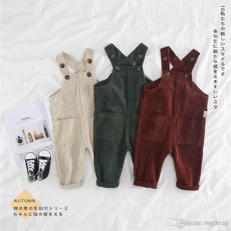 INS Toddler Kids Boys Jumpsuits Overalls Blet Rompers Cotton Front Buttons Pocket Designs Spring Autumn Children Girls Boys Suspender