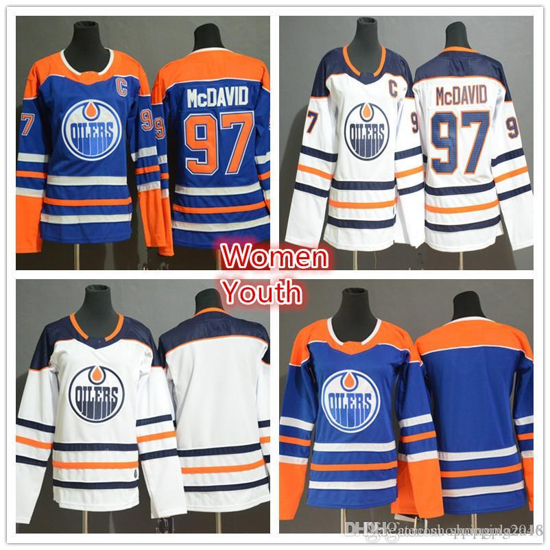 sale retailer 9ee7e ce140 Women's Edmonton Oilers 97 Connor McDavid Fanatics Branded White Royal  Breakaway Youth Kids Lady hockey Jerseys embroidered Stitched lo