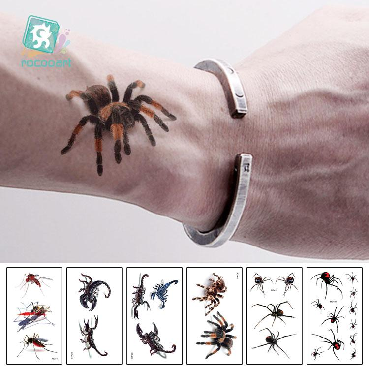 Rocooart 3D Spider Tatoo Scorpion Temporary Tattoo Stickers For ...