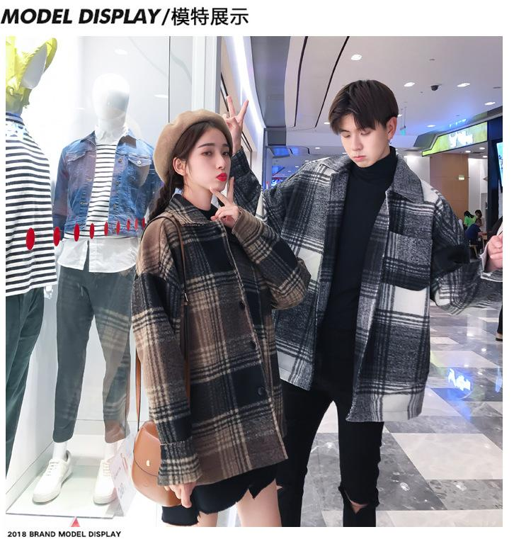 Men's and women's fashion coat in autumn loose medium long checked woolen coat.