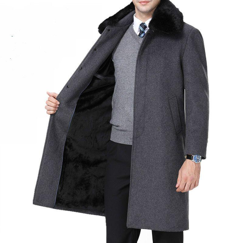 b62baa3c0 Abrigos para hombre Chaqueta de abrigo de lana de cachemira Hombres Otoño  Invierno Grueso Real Rex Cuello de piel de conejo Trench Coat Hombres Más  ...
