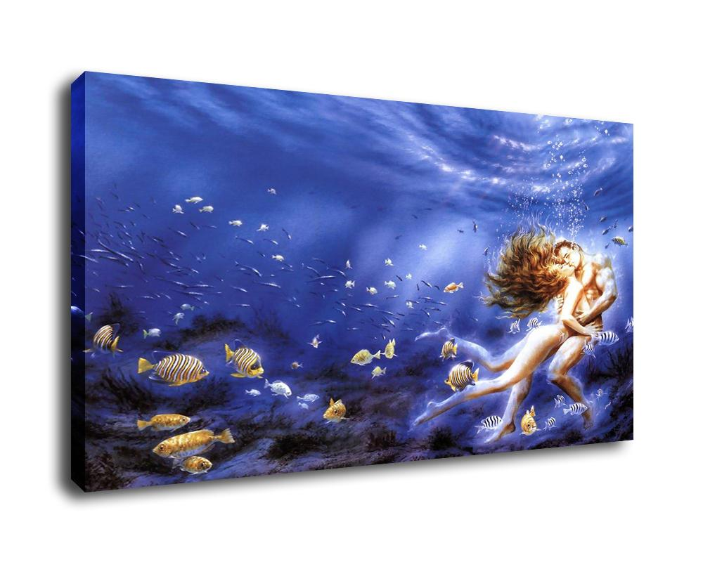 Fantasy Art Deep Seabed Kiss,Oil Painting Reproduction High Quality Giclee Print on Canvas Modern Home Art Decor