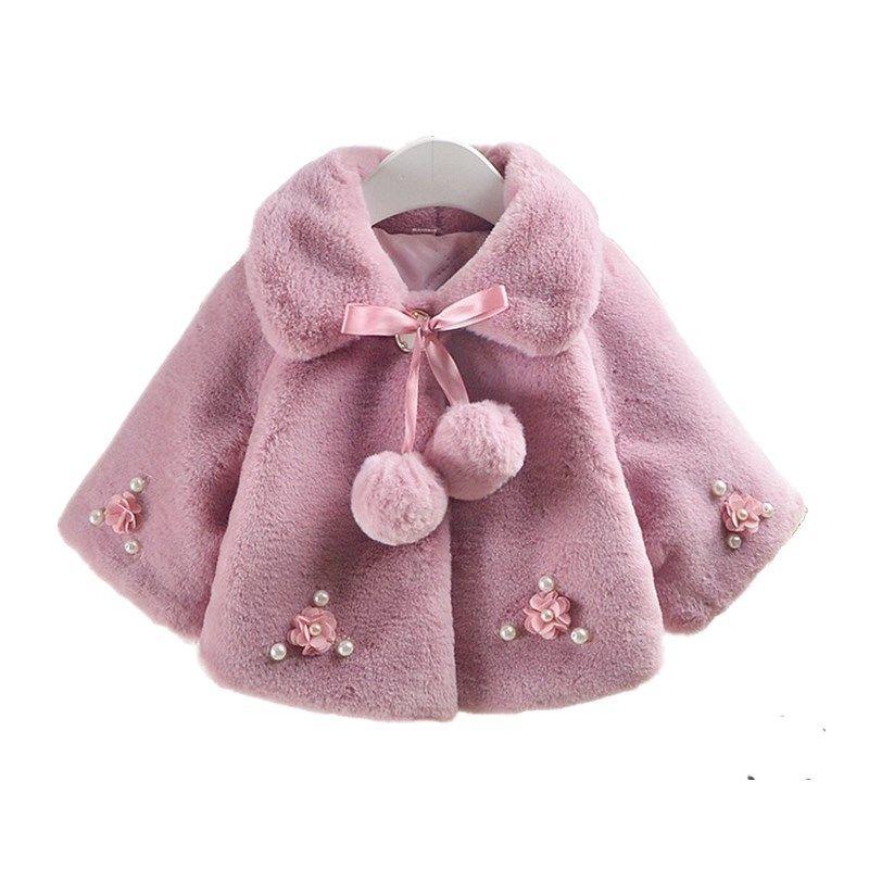 eebdfbe93d7d Winter Little Girls Jackets Faux Fur Snowsuit Baby Coat Kids Clothes ...