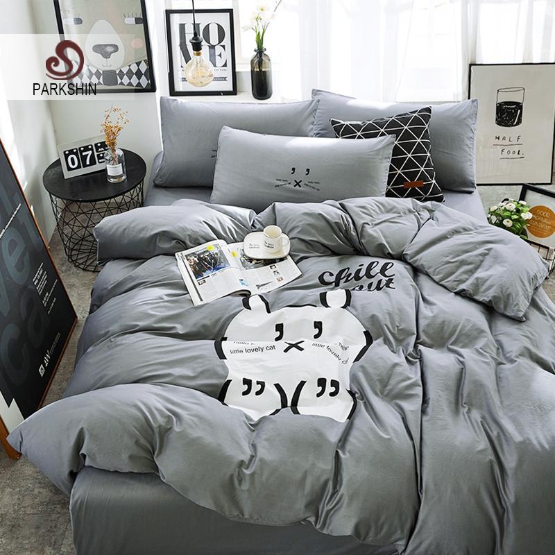 ParkShin Cat Bedding Sets Linen Cotton Gray Bedspread Comforter Duvet Cover Double  Bed Sheets Adult Twin Queen King Bedclothes Fieldcrest Bedding Black ...
