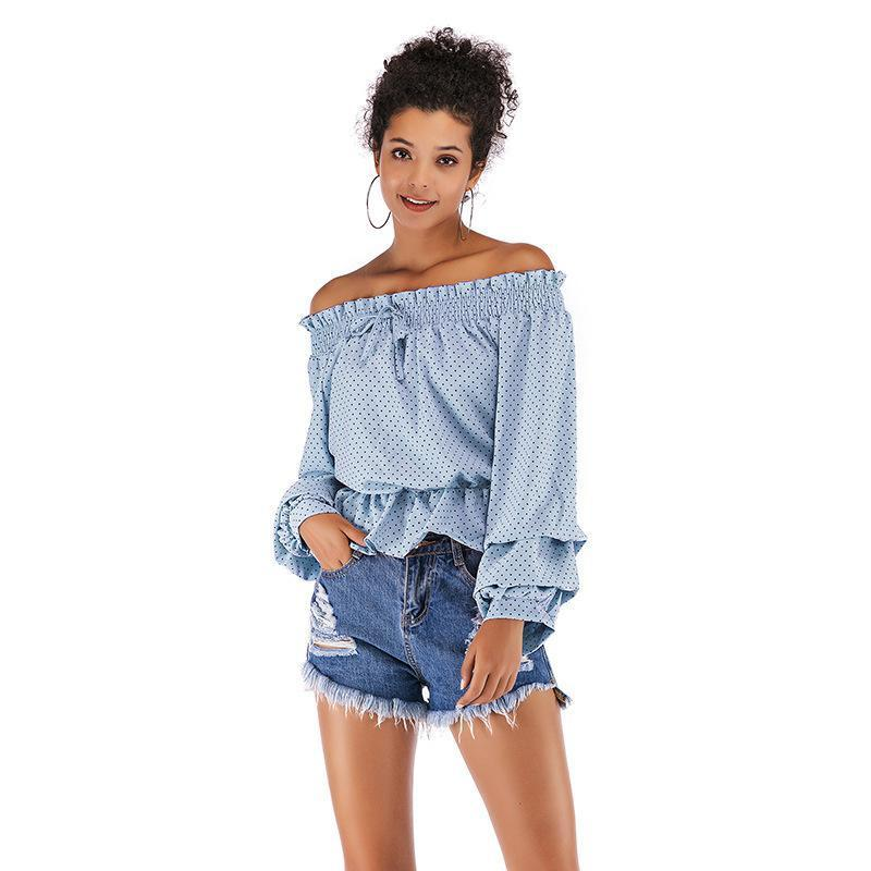 a5ec82feed232 2019 NFIVE Brand 2018 Women S Slim Blouses Spring Autumn New Fashion Wave  Point Shirt Bubble Sleeve Strapless Shoulder Chiffon Blouse From Luweiha