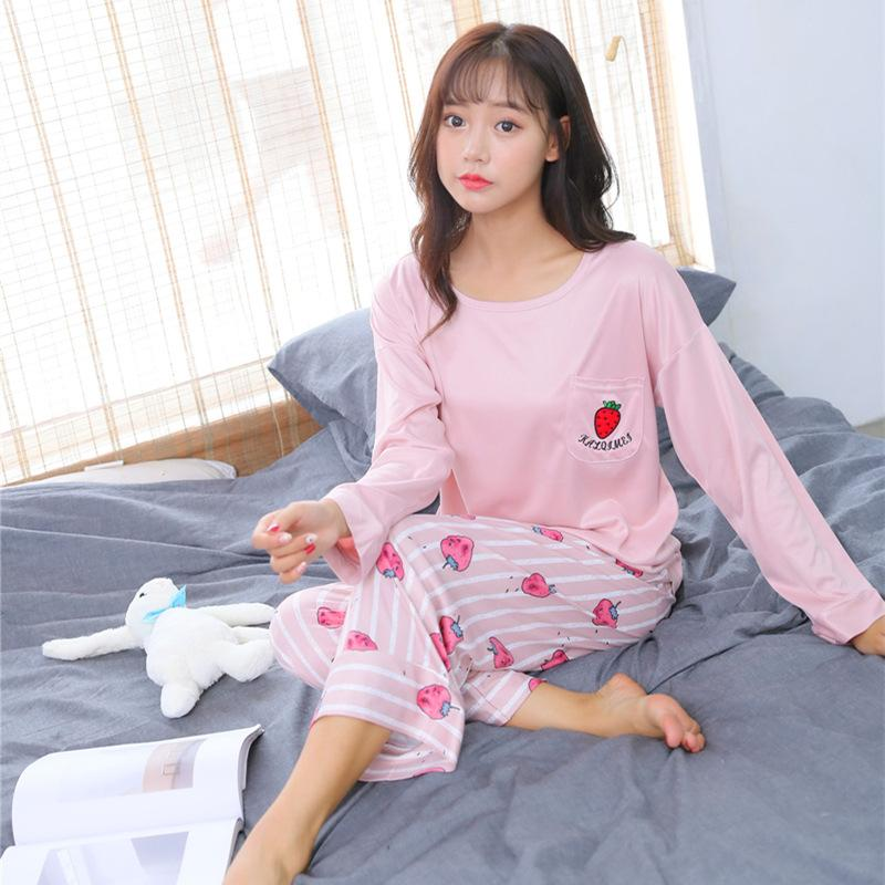 4ea3e54b8aff 2019 Womens Pajamas Sets Cute Pyjama Women 2018 Casual Cotton Long Sleeve  Cartoon Sleepwear Suit Homewear Lounge Pants Suits From Zijinflo