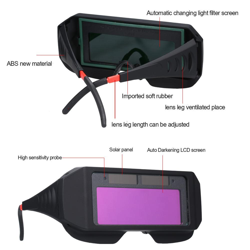 Solar Powered Auto Darkening Welding Glass Welding Mask Helmet Practical Eyes Goggle Safety Glasses Weld Protective Gear