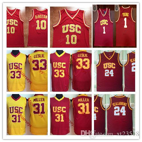 pretty nice be947 b5cf1 Men NCAA USC Trojans Demar DeRozan Basketball Jersey #1 Nick Young #24  Brian Scalabrine #31 Cheryl Miller #33 Lisa Leslie USC Trojans Jersey
