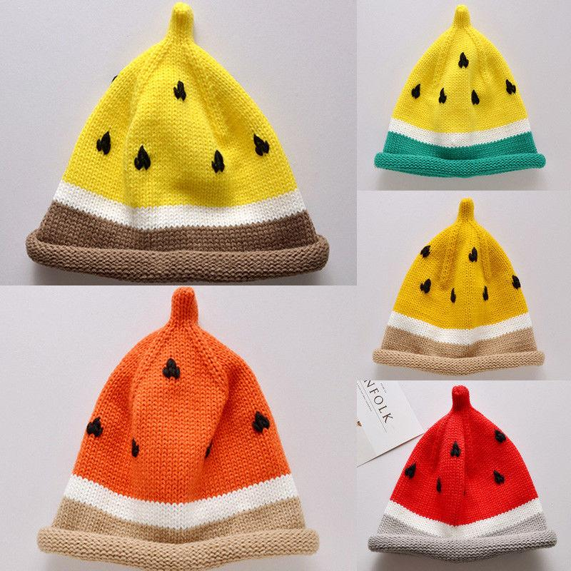 779367f0fc3 Newborn Baby Hat Toddler Watermelon Winter Warm Stripe Knit Baby Cap ...