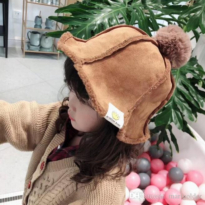 eee734d86 Children's Outdoor Hats new autumn and winter men and women baby suede  plush ball wild thick warm fisherman hat wholesale