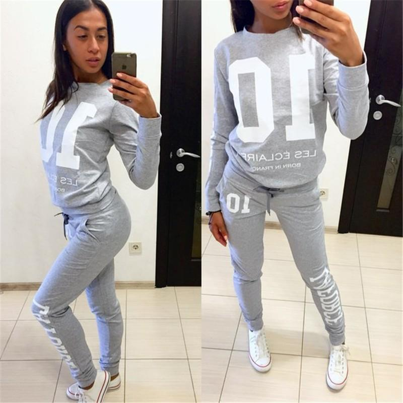 2018 New Autumn Women Tracksuit Black Gray Long Sleeve Hoodies Sweatshirts Two Piece Set Letter Printed Women Pants Tracksuits
