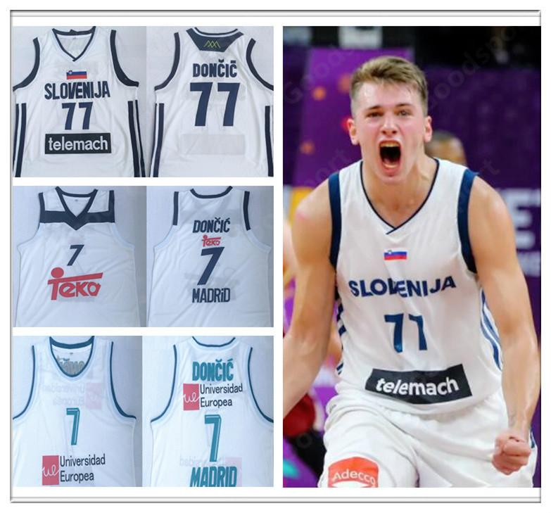 designer fashion 9e7ad d21de 2019 Slovenia 77 Doncic Stitched jerseys Sport Jersey CITY SWINGMAN new  SHIRTS Luka #7 Slovenija Real Madrid Euroleague Champion sport