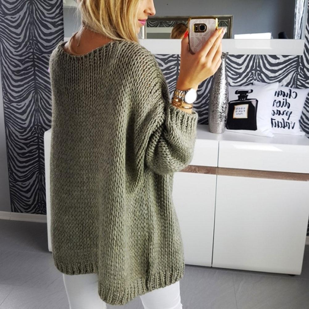 Frauen-Kleidung Sweater Top beiläufige unregelmäßige Strickjacke Outwear Mantel Fest-Herbst-Frauen Warme Kleidung Langarm