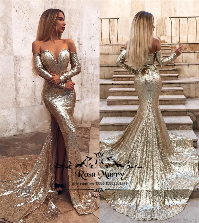 d6cdd4b800d2 Sexy Gold Sequined Mermaid Prom Dresses 2019 Off Shoulder Long Sleeves High  Split 2K19 Girls Pageant Cheap Formal Evening Party Gowns Short Formal Dress  ...