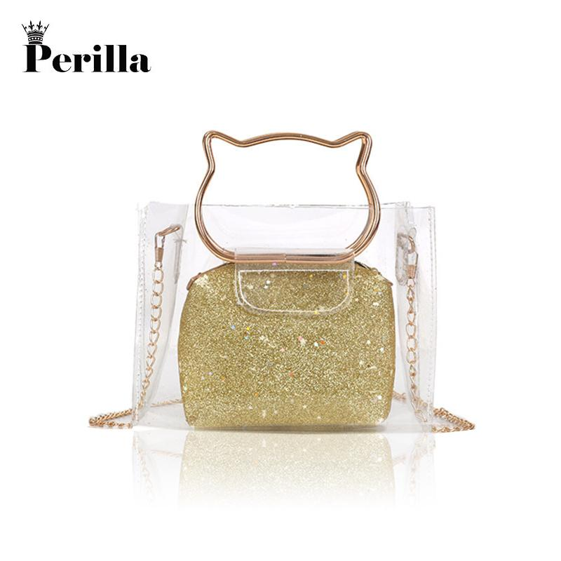 2019 Fashion Perilla 2018 Women Transparent Bag Clear PVC Jelly Tote Messenger  Bags Laser Holographic Shoulder Bags Female Lady Sac Femme Purses Wholesale  ... 6979726d028ad