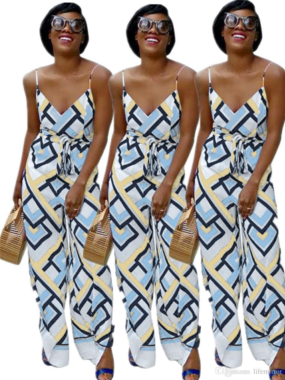 0a10550cc6 Halter Print Jumpsuit Spot Fashion Plaid Trim High Street Style New ...