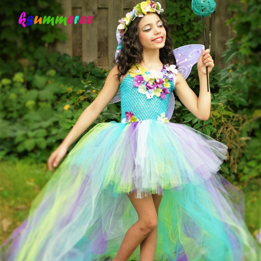 Kids Princess Flowers Rainbow Dress Long Tail Fairy Costume Girls Colored Wedding Ball Gown Baby Party Tutu ClothingMX190912MX190912