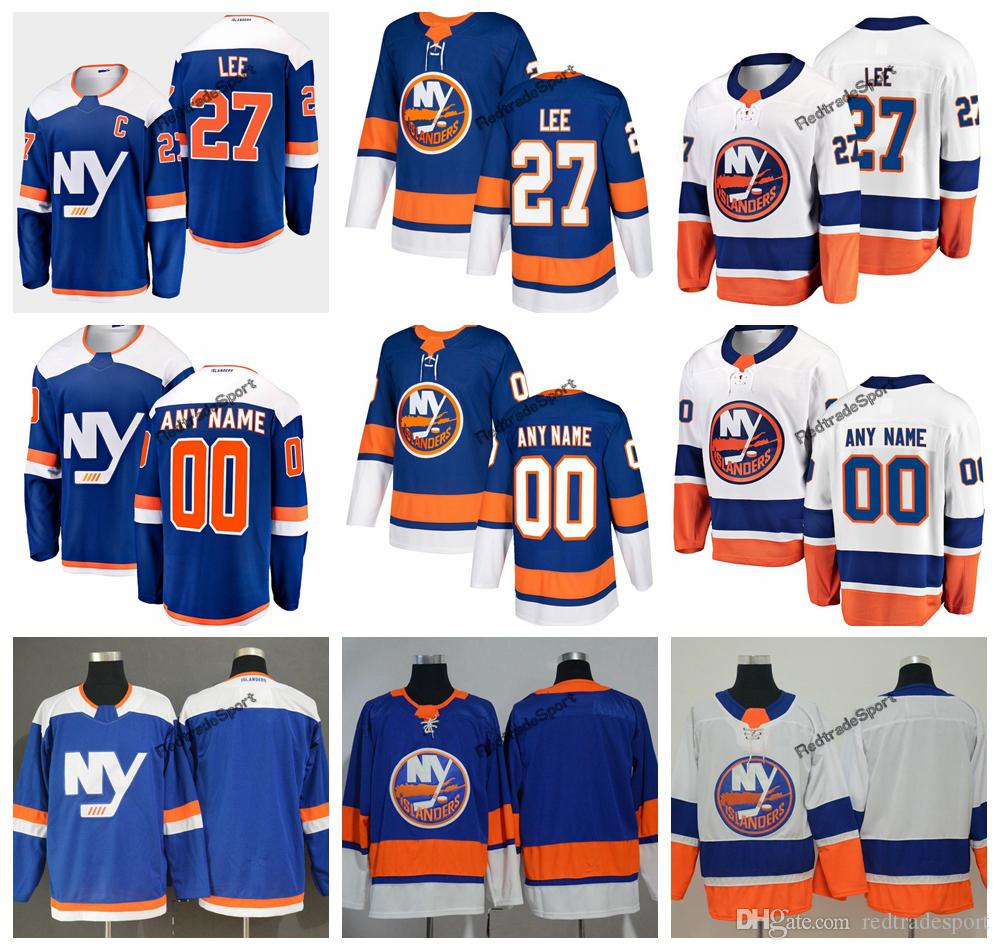 size 40 a0886 cc7d7 2019 Anders Lee New York Islanders Hockey Jerseys Mens Custom Name  Alternate Blue Home 27 Anders Lee Stitched Hockey Shirts C Patch