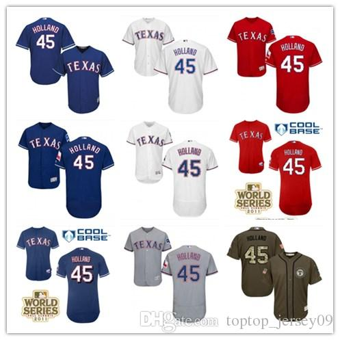 793566e7c6c Top Can Texas Rangers Jerseys  45 Derek Holland Jerseys Men WOMEN ...