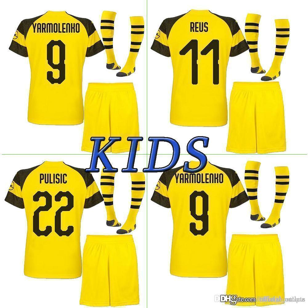 new products 8849c be815 2018 2019 kids kit Borussia Dortmund home soccer jersey uniform 18 19 REUS  PULISIC M.GOTZE WITSEL Dortmund child away BOYS football shirts