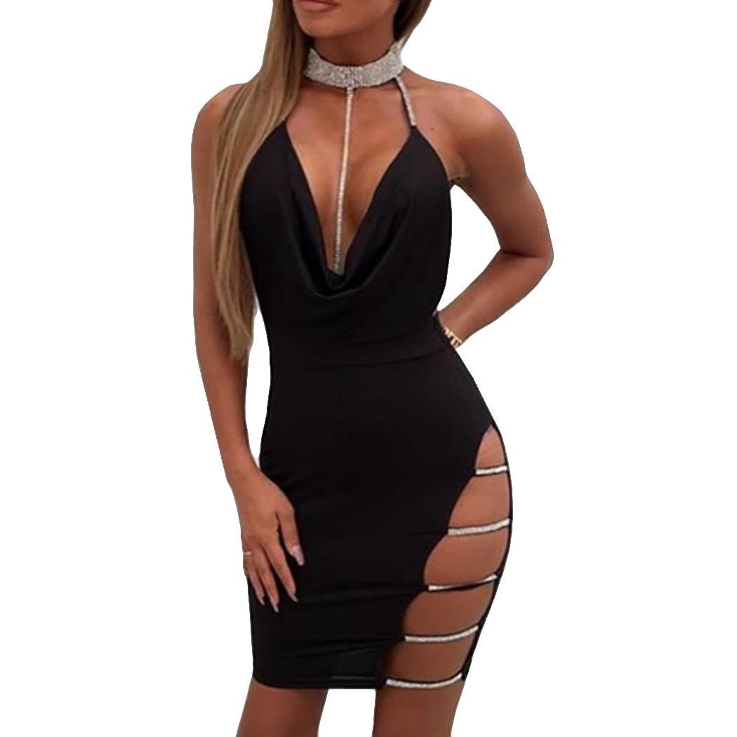 9dcb3119655cd Sexy Mini Dress Women Diamond Halter Deep V Neck Fashion Hollow Out Dresses  Sleeveless Ladies Backless Dress Short 2018 Clubwear