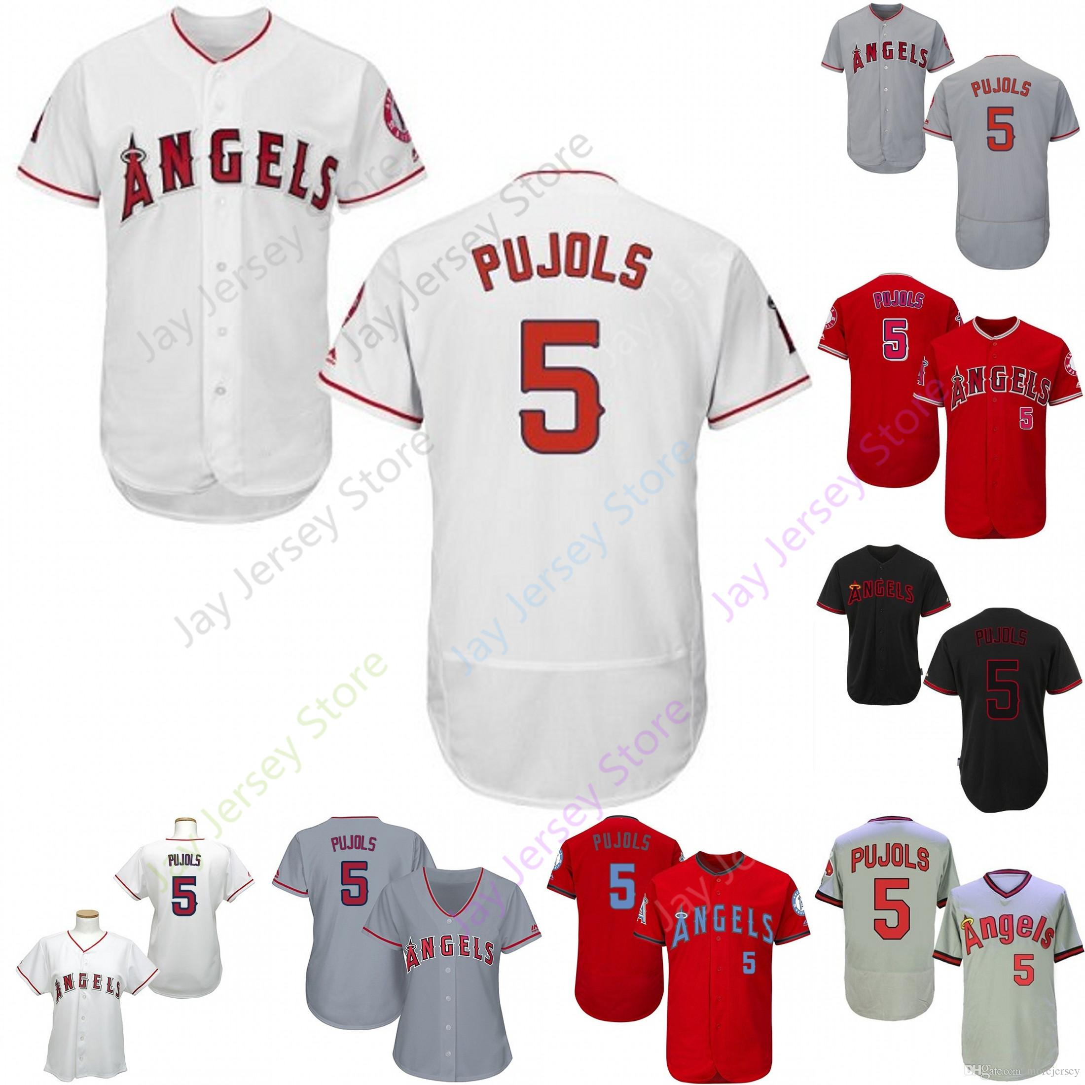 outlet store 8620e ceee1 2019 Los Angeles 5 Albert Pujols Jersey Angels of Anaheim Jerseys CoolBase  Flexbase Home Away White Black Red Grey Pullover Button Men Women