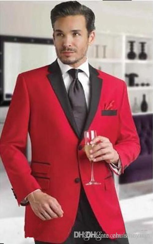 High Quality Red Groom Tuxedos Two Pieces Groomsmen Suit Notch Lapel Cheap Custom Made Man Blazer Mens Wedding Suits (Jacket+Pants+Tie)