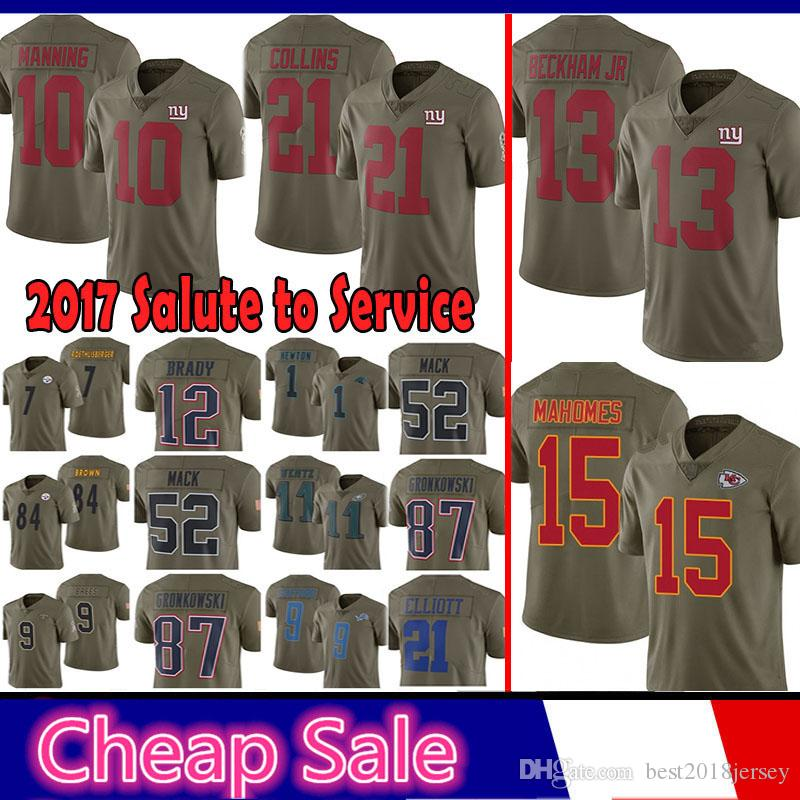 b308c911a 2019 Kansas City 15 Chiefs Patrick Mahomes II 10 Eli Manning New York Jersey  Gaints 13 Odell Beckham Jr 21 Landon Collins 2017 Salute To Service From ...