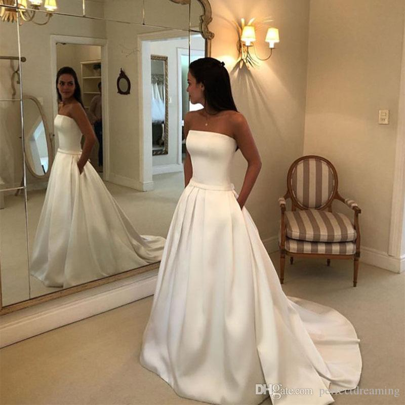 1a1ffc636a6 Discount Simple Strapless Satin A Line Wedding Dresses White Ivory Custom  Made Bow Belt Bridal Dresses Sweep Train Robe De Mariee Zipper Back Cheap  Gorgeous ...