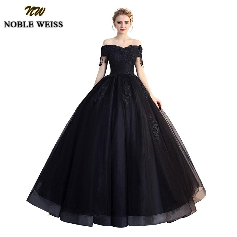 NOBLE WEISS Black Ball Gown Quinceanera Dresses 2019 Beading Off Shoulder Sweet 16 Dress Long Floor Length Vestidos de 15