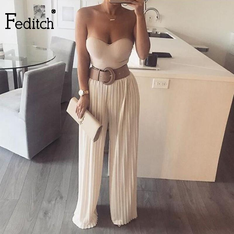 41a72e399fc 2019 Feditch Off Shoulder Pleated Jumpsuit Women Romper Summer Strapless  Backless Party Jumpsuits Female Overalls Clubwear From Boniee